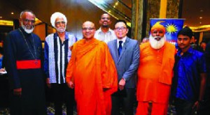 Multi-religious peace… CPHM Trustee Joshua Hong (3rd from right) with religious leaders.
